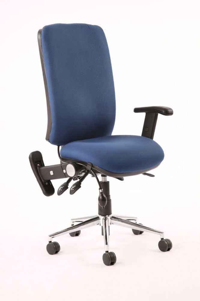 Chiro High Back Task Chair Office Operators Height Adjustable Folding Arms Various Colours